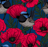 Seamlless vector pattern made of wren birds and poppies.
