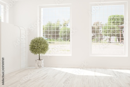 White stylish empty room with summer landscape in window. Scandinavian interior design. 3D illustration - 247614769