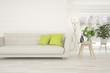 Leinwanddruck Bild - White stylish minimalist room with sofa. Scandinavian interior design. 3D illustration