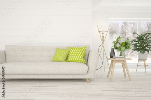 White stylish minimalist room with sofa. Scandinavian interior design. 3D illustration - 247617977