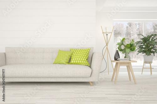 Leinwanddruck Bild White stylish minimalist room with sofa. Scandinavian interior design. 3D illustration