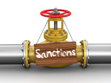 Pipeline with Sanctions. Image with clipping path