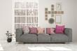 Leinwanddruck Bild - White stylish minimalist room with sofa and winter landscape in window. Scandinavian interior design. 3D illustration