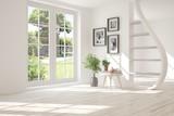 White stylish empty room with summer landscape in window. Scandinavian interior design. 3D illustration - 247622324