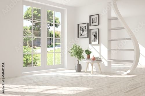 White stylish empty room with summer landscape in window. Scandinavian interior design. 3D illustration - 247622324