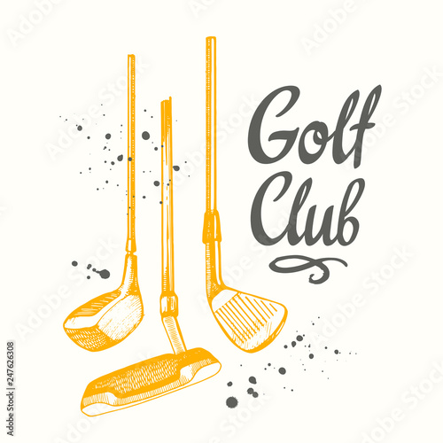 Golf. Vector set of hand-drawn sports equipment. Illustration in sketch style on white background. Brush calligraphy elements for your design. Handwritten ink lettering.