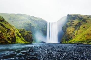 Famous Skogafoss waterfall on Skoga river, Iceland © ivan kmit