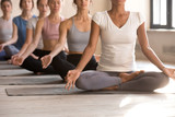 Toned diverse women meditate in lotus position in studio