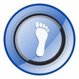 Foot round blue glossy web design icon isolated on white background - 247656544