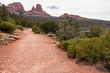 Midgley Bridge Trail with red rocks mountain formations near Sedona Arizona and the Midgley Bridge in the background