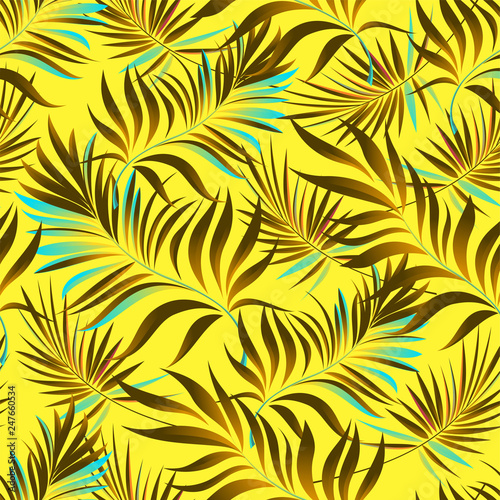 Seamless pattern of a tropical palm tree, jungle leaves. Vector floral pattern. - 247660534