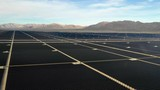 solar panel farm at the base of a mountain range in Arizona near the California state line. - 247666964
