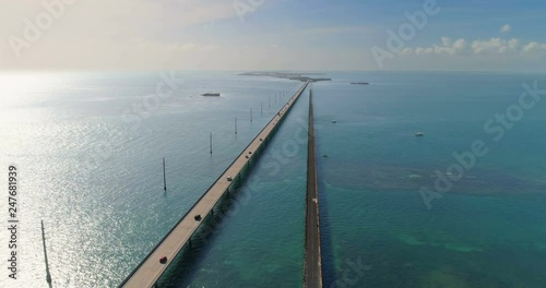 Aerial view of Seven Miles Bridge, Florida Keys, USA. Sun reflections on the water