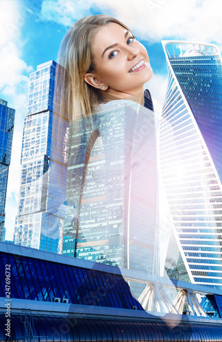 Double exposure of business woman and cityscape background. - 247696732