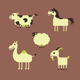 Cartoon Animals Set Farm Cow Horse Sheep Camel Goat