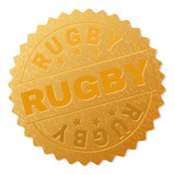 RUGBY gold stamp award. Vector gold award with RUGBY title. Text labels are placed between parallel lines and on circle. Golden area has metallic texture.