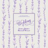 Wedding invitation with blossom lavender. Bridal shower card with gray background. Vintage floral invitation for spring or summer bridal shower. Vector illustration.