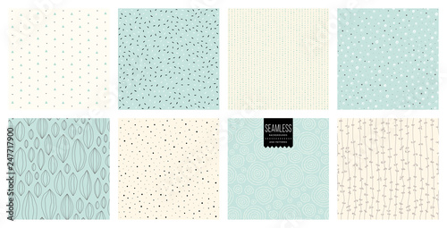 obraz lub plakat Set of abstract square backgrounds and sketch dots textures.