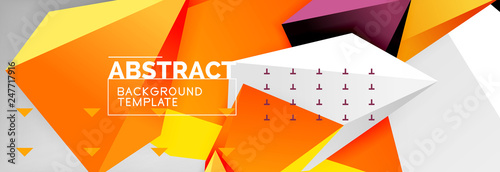 Bright colorful triangular poly 3d composition, abstract geometric background, minimal design, polygonal futuristic poster template - 247717916