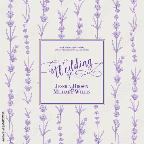 Wedding invitation with blossom lavender. Bridal shower card with gray background. Vintage floral invitation for spring or summer bridal shower. Vector illustration. - 247717933