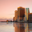 Conceptual view of New York City architecture with reflection -  sunrise time