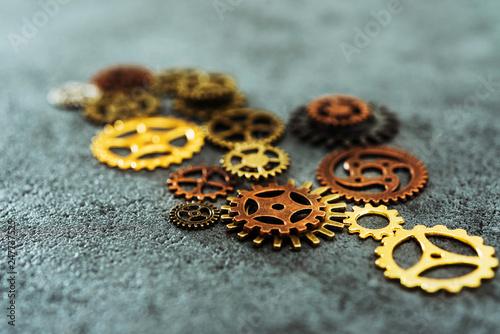 Leinwanddruck Bild mechanism concept closeup view gear wheel sign icon