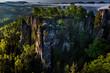 Leinwanddruck Bild - Bastei bei Rathen, Felsenbuehne, Nationalpark Saechsische Schweiz, Elbsandsteingebirge, Sachsen, Deutschland