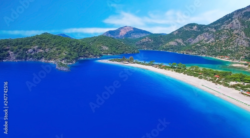 Leinwanddruck Bild Sea (Oludeniz), Situated on Turkey of south-west coast, with it's pristine white beaches and amazingly blue waters,(Babadag)