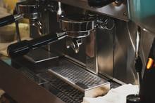 """Постер, картина, фотообои """"coffee machine in cafe"""""""