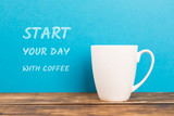 coffee cup with blue background