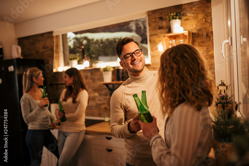 Foto Murales Casual winter night party.