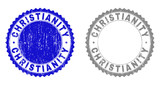 Grunge CHRISTIANITY stamp seals isolated on a white background. Rosette seals with grunge texture in blue and gray colors. Vector rubber stamp imitation of CHRISTIANITY label inside round rosette.