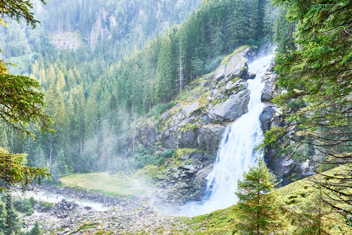 The Krimml Waterfalls / total height of 380 metres (1,247 feet) / the highest waterfall in Austria - 247761536