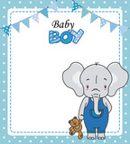 Baby girl shower card. Cute elephant with teddy. Space for text