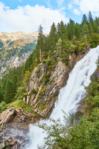 The Krimml Waterfalls / total height of 380 metres (1,247 feet) / the highest waterfall in Austria - 247763981