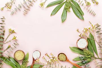 Bio herbal green cosmetic arrangement, sea salt and handmade cosmetic. © gitusik