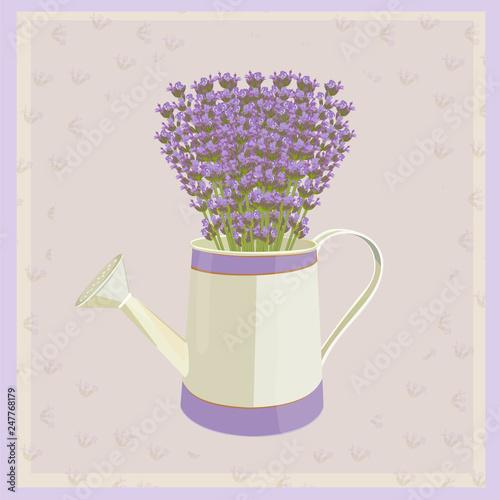 Bouquet of lavender flowers. Card. - 247768179