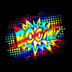 Carnival Boom, comic book style, speech bubble, explosion, mardi gras
