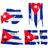 set of four flags, illustration of torn flags, Cuba flag