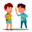Two Little Asian Boys Playing With Matches Vector. Isolated Illustration
