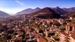 aerial view of the city of Vertova, Bergamo, Lombardia, Italy - 247782522