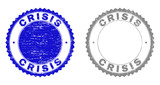 Grunge CRISIS stamp seals isolated on a white background. Rosette seals with grunge texture in blue and grey colors. Vector rubber stamp imitation of CRISIS title inside round rosette. - 247784766