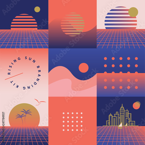 Retro synthwave seamless pattern with rising sun theme