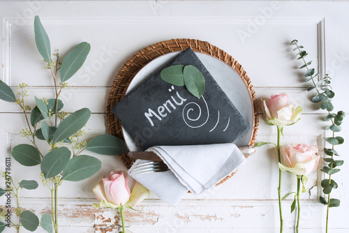 Leinwanddruck Bild Mothers day place setting on white vintage table