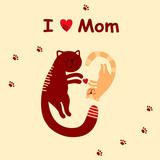 Cute cat and heart with a kitten symbolize love for mom greeting card for mother's day