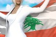 young business woman holds Lebanon flag in hands behind her back on the blue sky background - flag concept 3d illustration