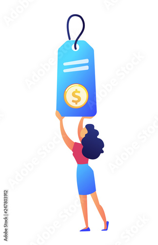 Female shopper holding a big price tag with dollar sign vector illustration. Customer shopping and sale, discount and retail, purchase and promotion concept. Isolated on white background.