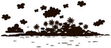Small desert island with rocks and palms in a tropical sea, black and white silhouette vector illustration in a cartoon style
