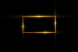 Golden frame with lights effects,Shining luxury banner vector illustration. Glow line golden frame with sparks and spotlight light effects. Shining rectangle banner isolated on black black background