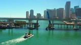 Aerial shot Downtown Miami Biscayne Bay and bridges 4k - 247815744